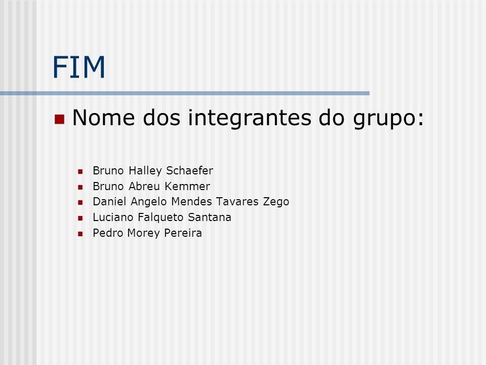 FIM Nome dos integrantes do grupo: Bruno Halley Schaefer Bruno Abreu Kemmer Daniel Angelo Mendes Tavares Zego Luciano Falqueto Santana Pedro Morey Per