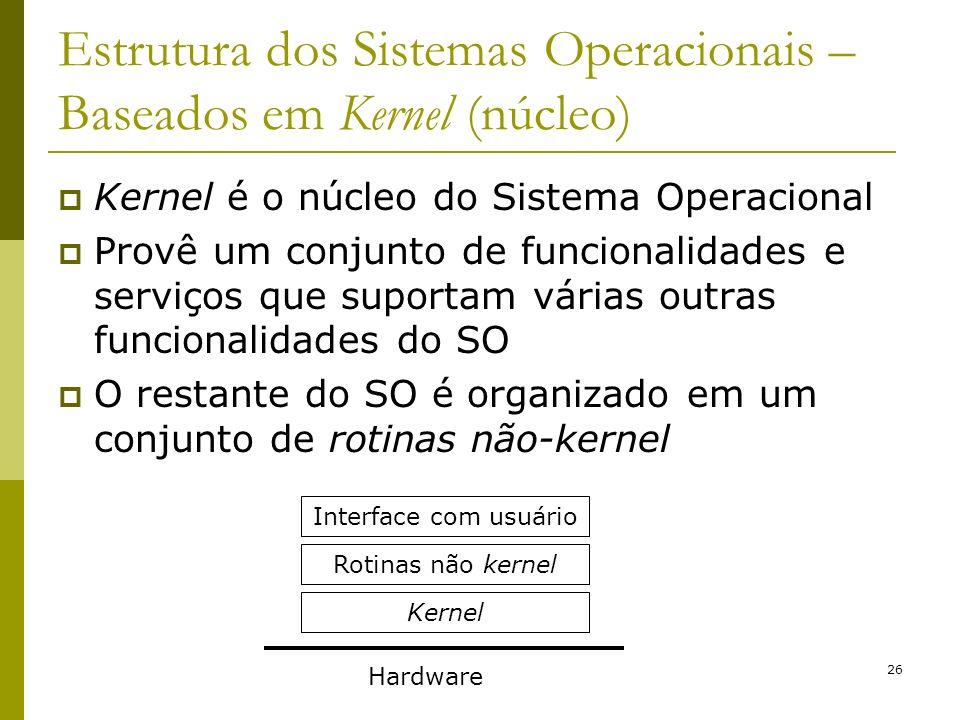 26 Estrutura dos Sistemas Operacionais – Baseados em Kernel (núcleo) Kernel é o núcleo do Sistema Operacional Provê um conjunto de funcionalidades e s