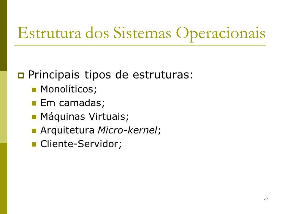 27 Estrutura dos Sistemas Operacionais Principais tipos de estruturas: Monolíticos; Em camadas; Máquinas Virtuais; Arquitetura Micro-kernel; Cliente-S