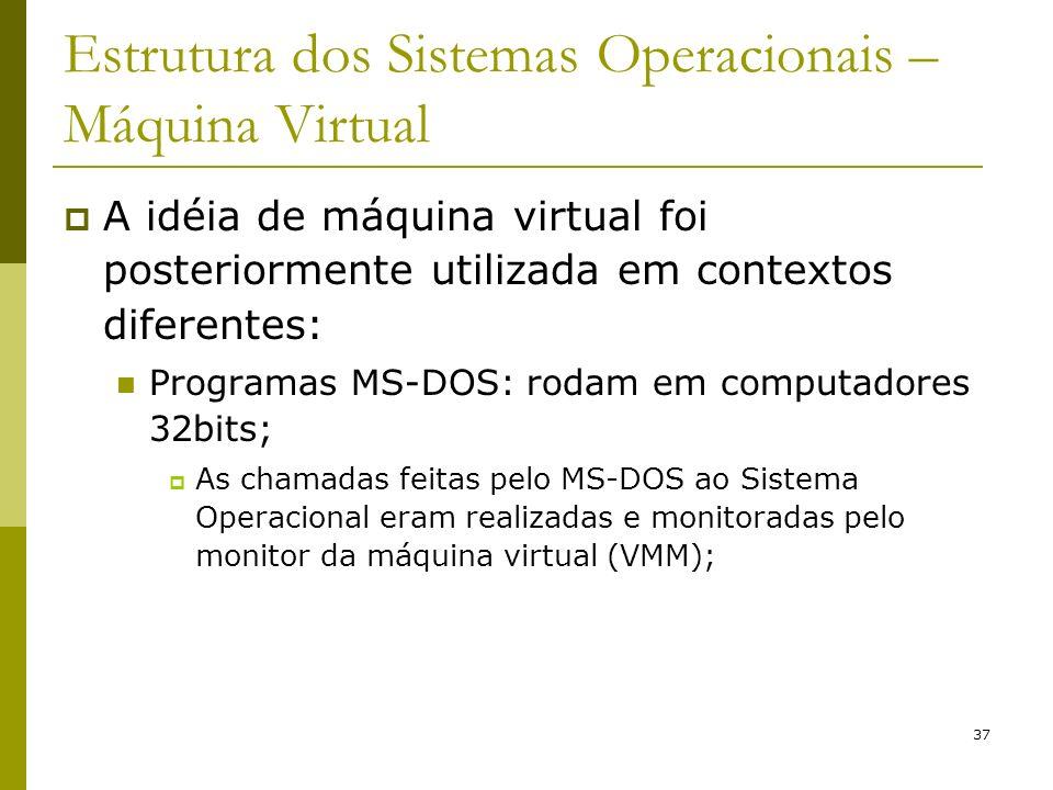37 Estrutura dos Sistemas Operacionais – Máquina Virtual A idéia de máquina virtual foi posteriormente utilizada em contextos diferentes: Programas MS