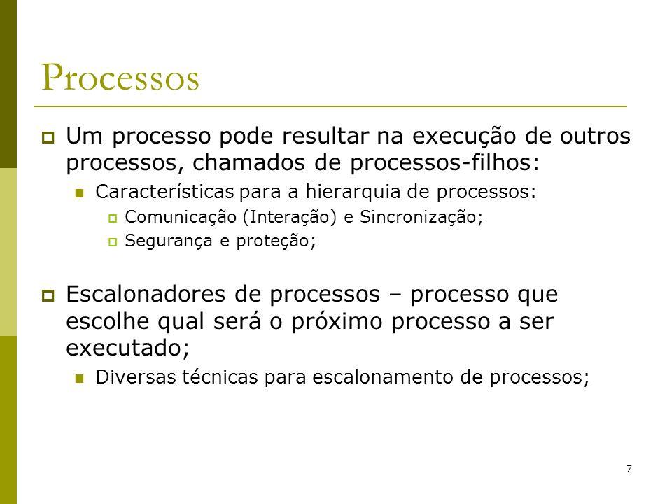 8 Processos Comunicação e sincronismo entre processos – solução: Semáforos; Monitores; Instruções especiais em hardware; Troca de mensagens;