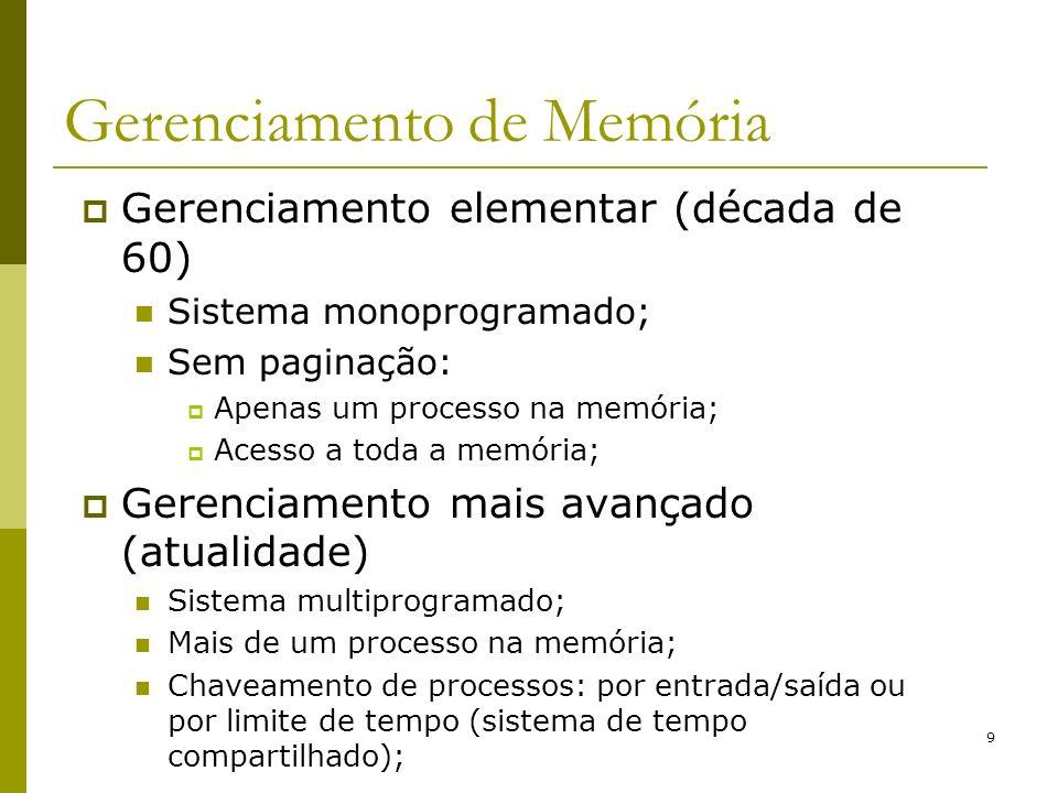 9 Gerenciamento de Memória Gerenciamento elementar (década de 60) Sistema monoprogramado; Sem paginação: Apenas um processo na memória; Acesso a toda