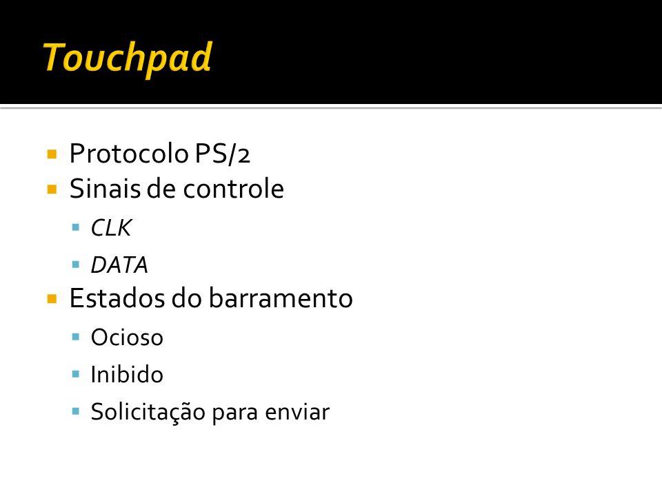 Protocolo PS/2 Sinais de controle CLK DATA Estados do barramento Ocioso Inibido Solicitação para enviar