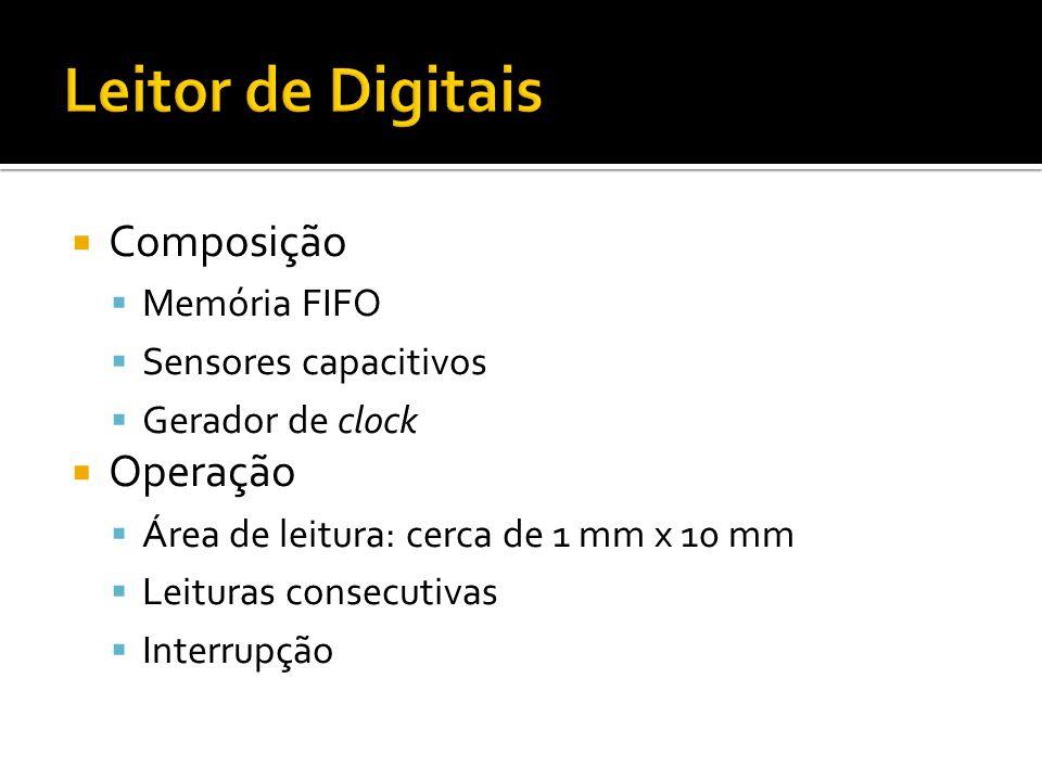 Composição Memória FIFO Sensores capacitivos Gerador de clock Operação Área de leitura: cerca de 1 mm x 10 mm Leituras consecutivas Interrupção