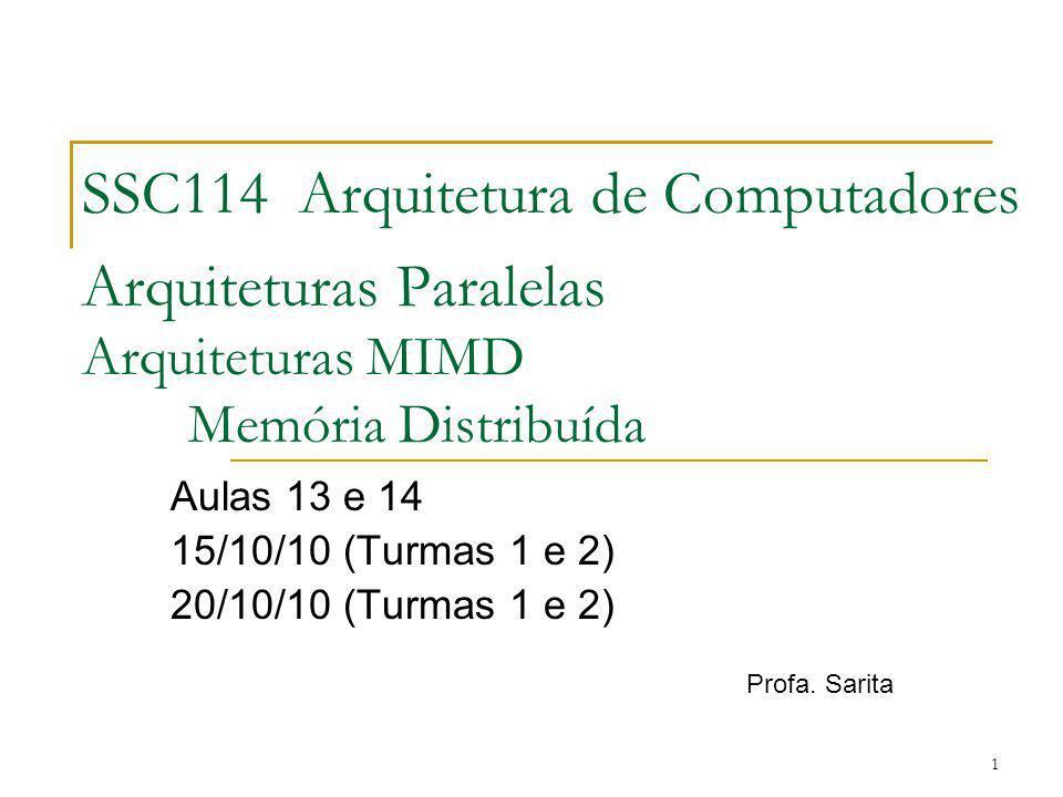 1 SSC114 Arquitetura de Computadores Arquiteturas Paralelas Arquiteturas MIMD Memória Distribuída Aulas 13 e 14 15/10/10 (Turmas 1 e 2) 20/10/10 (Turm
