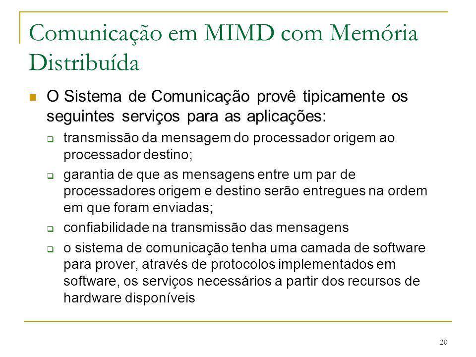20 Comunicação em MIMD com Memória Distribuída O Sistema de Comunicação provê tipicamente os seguintes serviços para as aplicações: transmissão da men