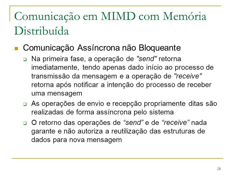 26 Comunicação em MIMD com Memória Distribuída Comunicação Assíncrona não Bloqueante Na primeira fase, a operação de