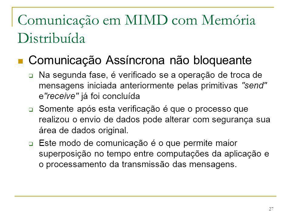27 Comunicação em MIMD com Memória Distribuída Comunicação Assíncrona não bloqueante Na segunda fase, é verificado se a operação de troca de mensagens