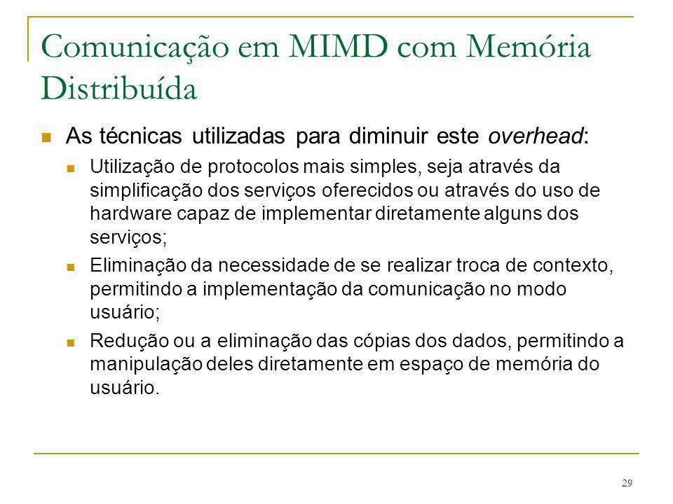 29 Comunicação em MIMD com Memória Distribuída As técnicas utilizadas para diminuir este overhead: Utilização de protocolos mais simples, seja através