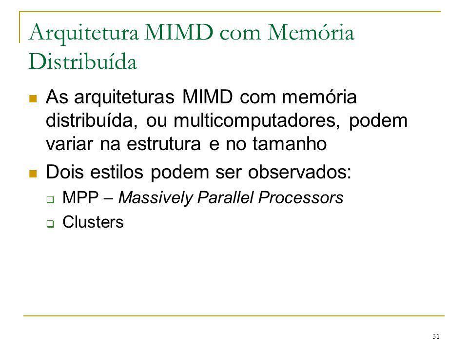 31 Arquitetura MIMD com Memória Distribuída As arquiteturas MIMD com memória distribuída, ou multicomputadores, podem variar na estrutura e no tamanho