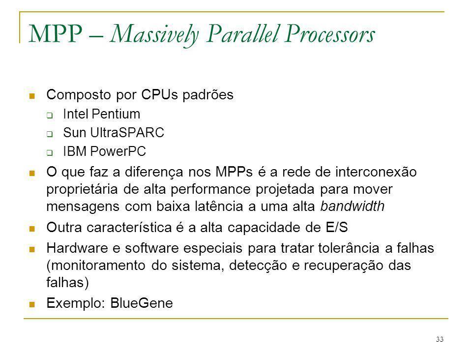 34 MPP – Massively Parallel Processors BlueGene Sistema projetado pela IBM, em 1999, para resolver problemas de computação intensiva relacionados à vida Primeiro: BlueGene/L Início em 2001 Uma parceria da IBM com o Departamento de Energia dos EUA Projetado não só para ser o MPP mais rápido, mas também para ser o mais eficiente em termos de teraflops/dolar, teraflops/watt, teraflops/m 3 Um quarto (16384 processadores) disponível em nov/2004 http://domino.research.ibm.com/comm/research_projects.nsf/pag es/bluegene.index.html http://domino.research.ibm.com/comm/research_projects.nsf/pag es/bluegene.index.html