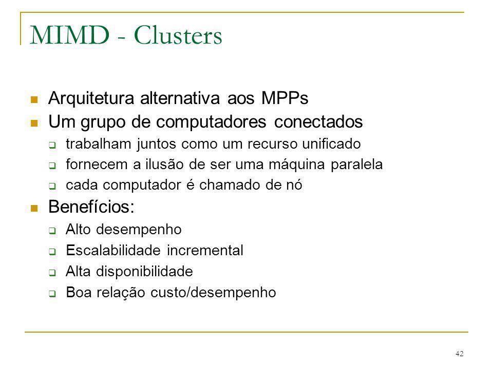 42 MIMD - Clusters Arquitetura alternativa aos MPPs Um grupo de computadores conectados trabalham juntos como um recurso unificado fornecem a ilusão d