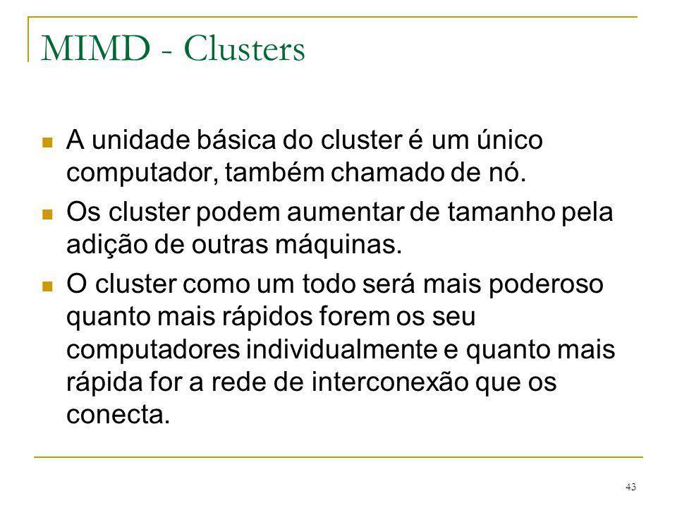 43 MIMD - Clusters A unidade básica do cluster é um único computador, também chamado de nó. Os cluster podem aumentar de tamanho pela adição de outras