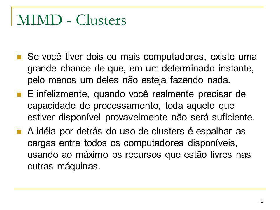 46 MIMD - Clusters Além disso, o sistema operacional de um cluster deve fazer o melhor uso do hardware disponível em resposta às mudanças de condições da computação.