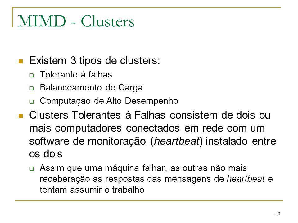49 MIMD - Clusters Existem 3 tipos de clusters: Tolerante à falhas Balanceamento de Carga Computação de Alto Desempenho Clusters Tolerantes à Falhas c