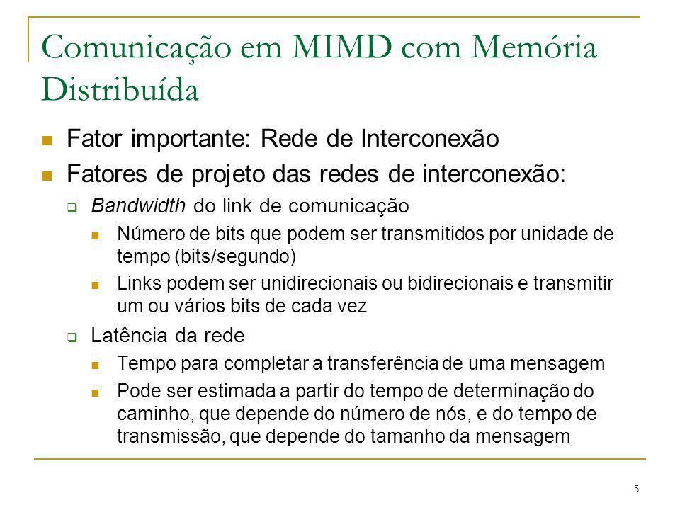 5 Comunicação em MIMD com Memória Distribuída Fator importante: Rede de Interconexão Fatores de projeto das redes de interconexão: Bandwidth do link d