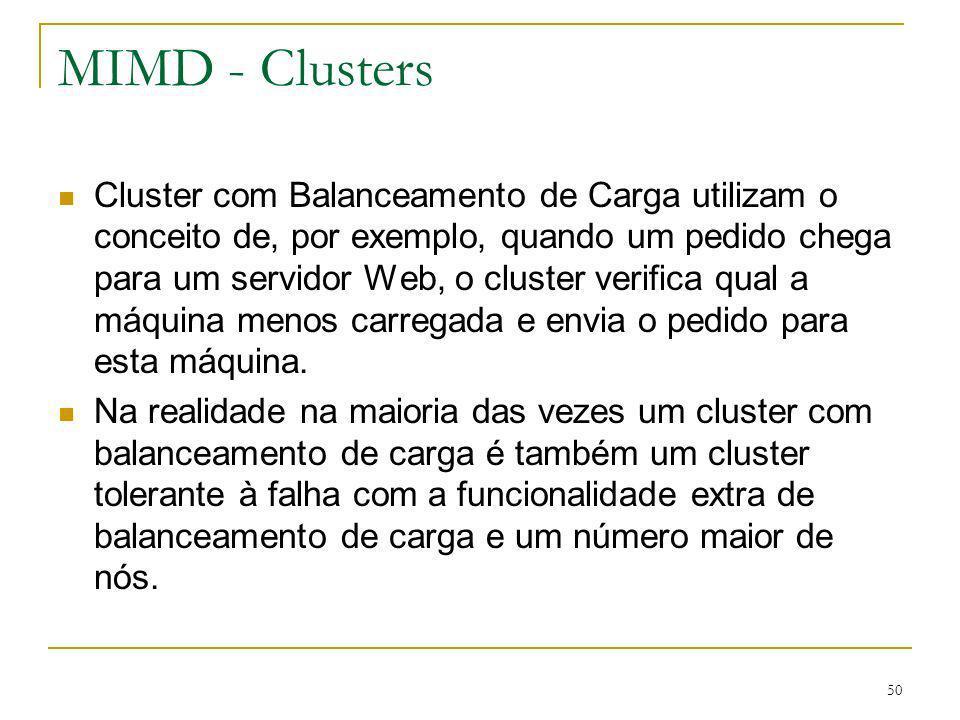 51 MIMD - Clusters A última variação de cluster é o de alto desempenho: as máquinas são configuradas especialmente para oferecer o maior desempenho possível.