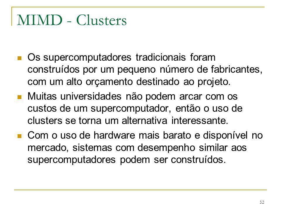 52 MIMD - Clusters Os supercomputadores tradicionais foram construídos por um pequeno número de fabricantes, com um alto orçamento destinado ao projet