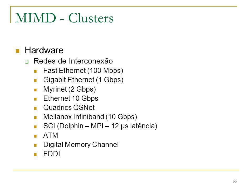 55 MIMD - Clusters Hardware Redes de Interconexão Fast Ethernet (100 Mbps) Gigabit Ethernet (1 Gbps) Myrinet (2 Gbps) Ethernet 10 Gbps Quadrics QSNet