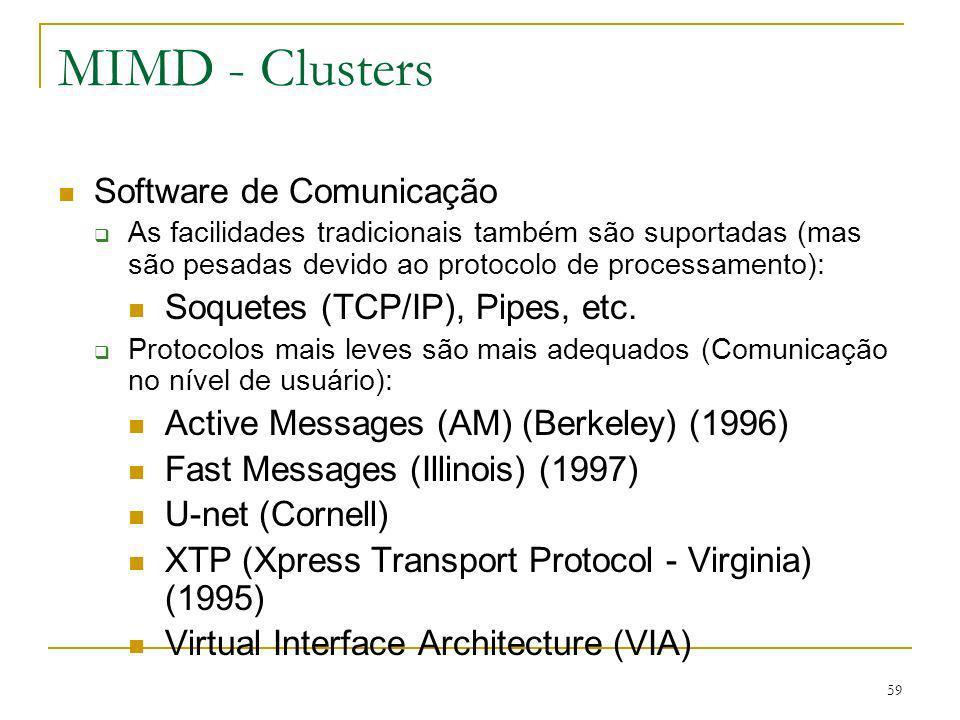 59 MIMD - Clusters Software de Comunicação As facilidades tradicionais também são suportadas (mas são pesadas devido ao protocolo de processamento): S