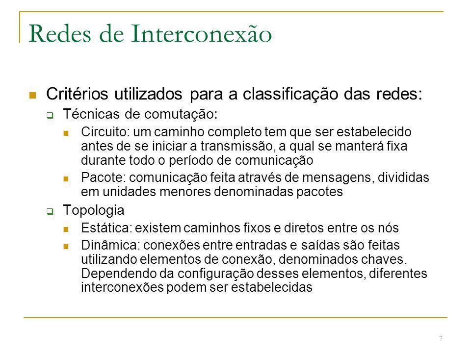 7 Redes de Interconexão Critérios utilizados para a classificação das redes: Técnicas de comutação: Circuito: um caminho completo tem que ser estabele