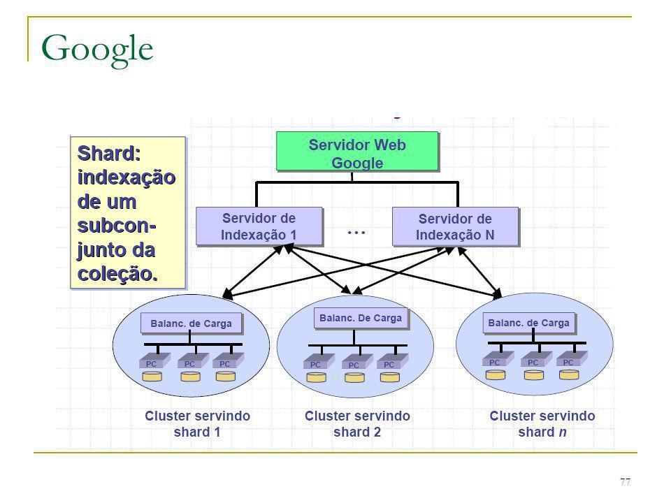 78 Google O resultado final da primeira fase de busca é uma lista ordenada de identificadores de documentos (docids).