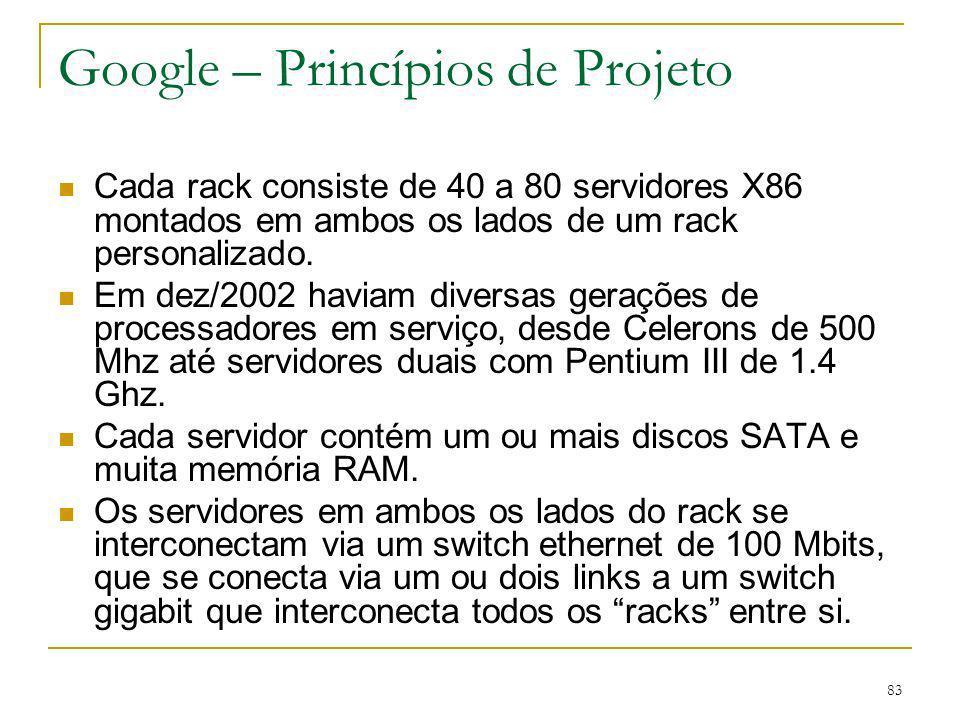 83 Google – Princípios de Projeto Cada rack consiste de 40 a 80 servidores X86 montados em ambos os lados de um rack personalizado. Em dez/2002 haviam
