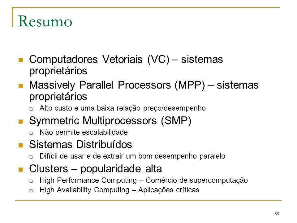 89 Resumo Computadores Vetoriais (VC) – sistemas proprietários Massively Parallel Processors (MPP) – sistemas proprietários Alto custo e uma baixa rel