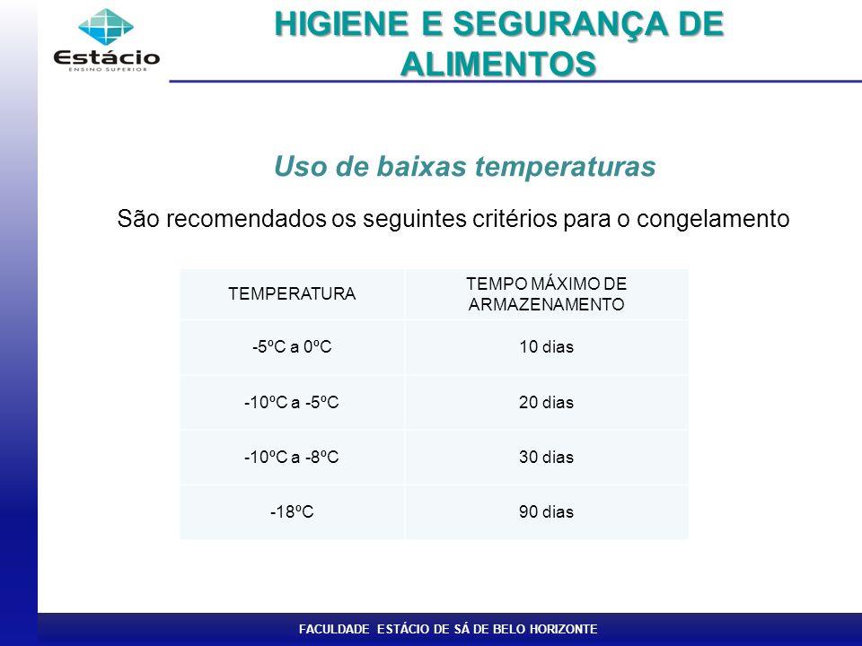 FACULDADE ESTÁCIO DE SÁ DE BELO HORIZONTE Uso de baixas temperaturas São recomendados os seguintes critérios para o congelamento HIGIENE E SEGURANÇA DE ALIMENTOS TEMPERATURA TEMPO MÁXIMO DE ARMAZENAMENTO -5ºC a 0ºC10 dias -10ºC a -5ºC20 dias -10ºC a -8ºC30 dias -18ºC90 dias