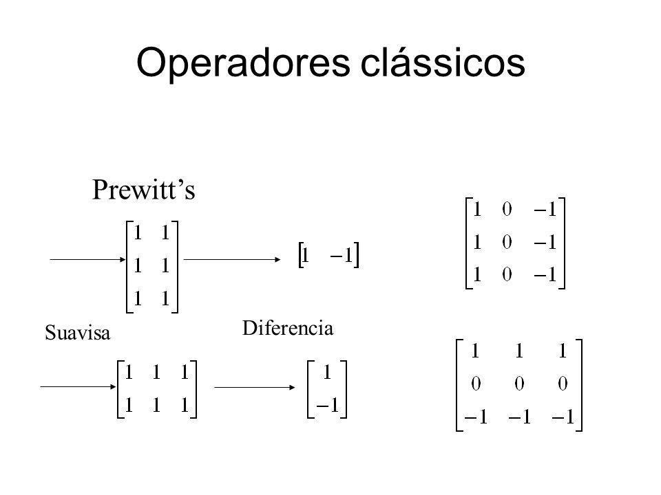 Operadores clássicos Prewitts Suavisa Diferencia