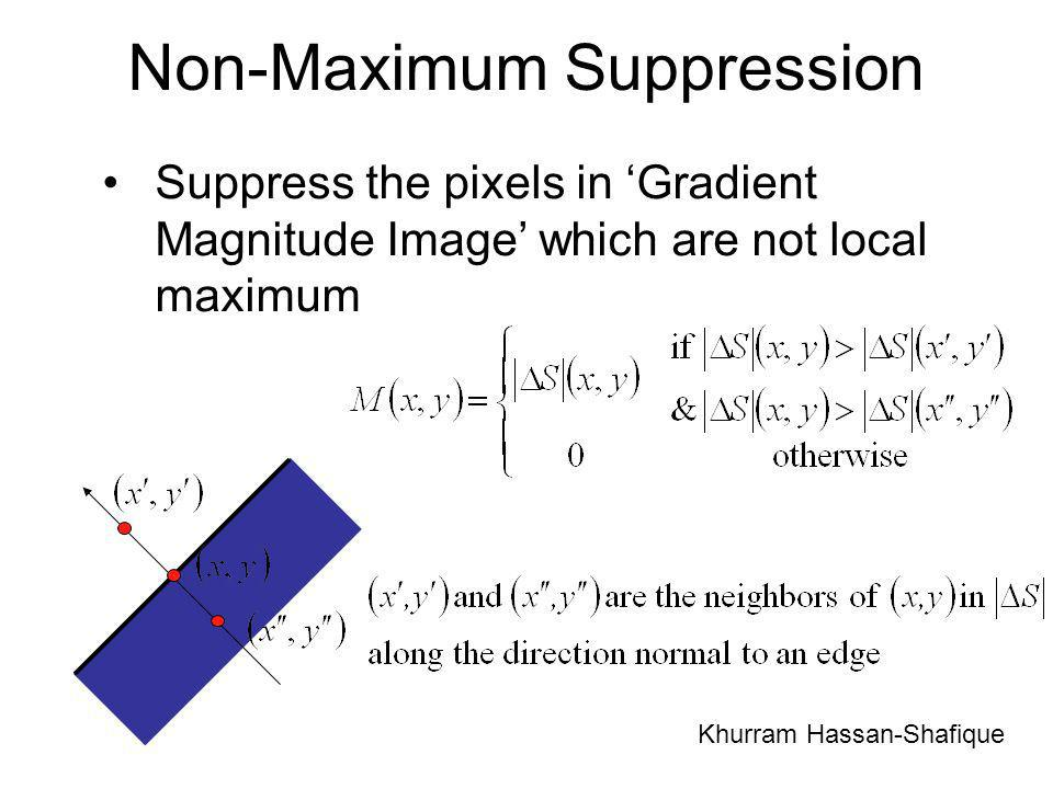Non-Maximum Suppression Suppress the pixels in Gradient Magnitude Image which are not local maximum Khurram Hassan-Shafique