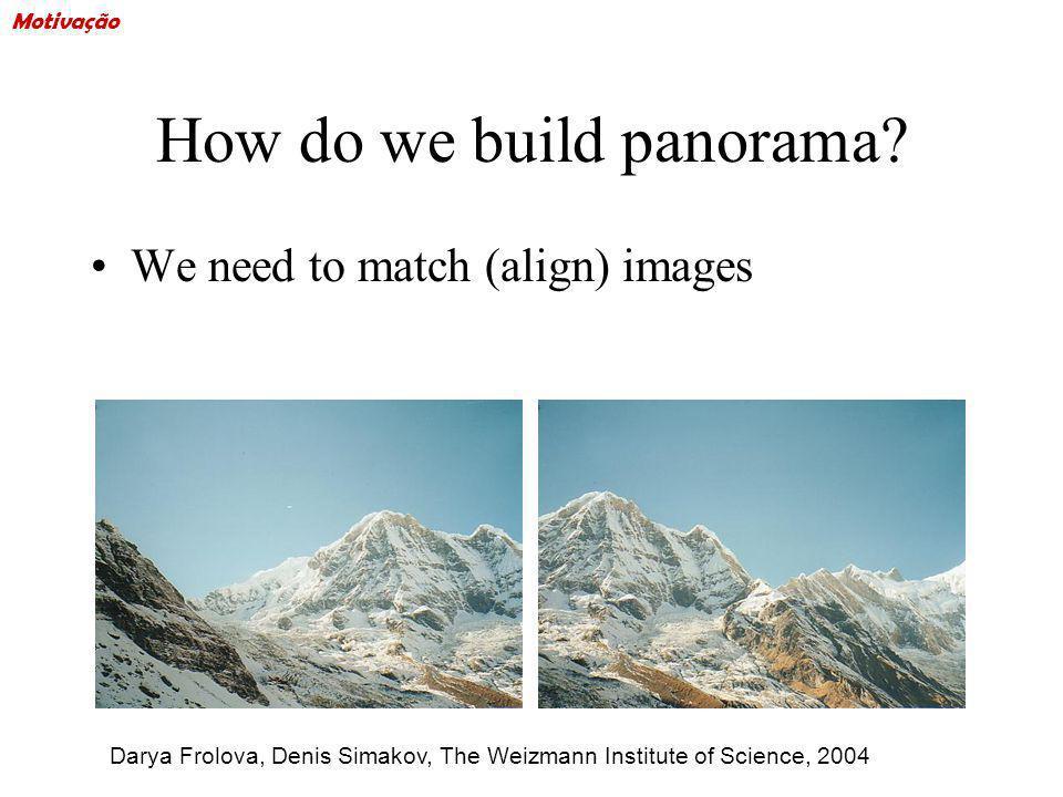 How do we build panorama? We need to match (align) images Darya Frolova, Denis Simakov, The Weizmann Institute of Science, 2004 Motivação