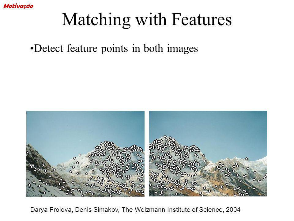Matching with Features Detect feature points in both images Find corresponding pairs Darya Frolova, Denis Simakov, The Weizmann Institute of Science, 2004 Motivação