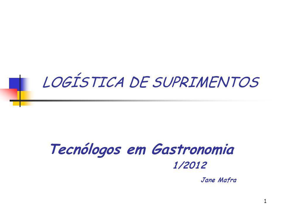 1 LOGÍSTICA DE SUPRIMENTOS Tecnólogos em Gastronomia 1/2012 Jane Mafra