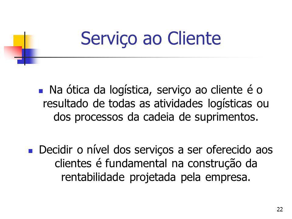 22 Serviço ao Cliente Na ótica da logística, serviço ao cliente é o resultado de todas as atividades logísticas ou dos processos da cadeia de suprimen
