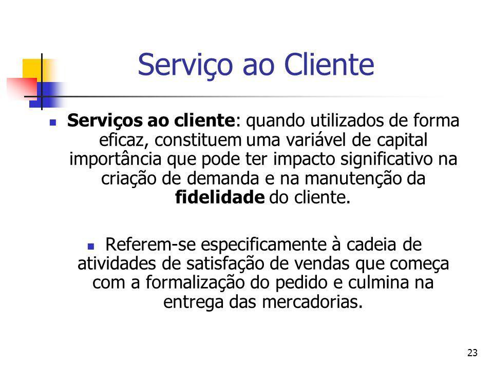 23 Serviço ao Cliente Serviços ao cliente: quando utilizados de forma eficaz, constituem uma variável de capital importância que pode ter impacto sign