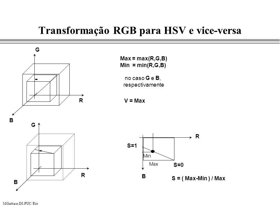 MGattass DI-PUC/Rio Transformação RGB para HSV e vice-versa R G B Max = max(R,G,B) Min = min(R,G,B) no caso G e B, respectivamente R G B V = Max S = (