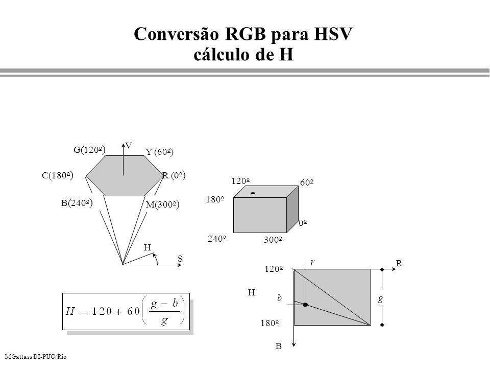 MGattass DI-PUC/Rio Conversão RGB para HSV cálculo de H R (0 o ) Y (60 o ) G(120 o ) C(180 o ) B(240 o ) M(300 o ) S H V 0o0o 60 o 120 o 180 o 240 o 3