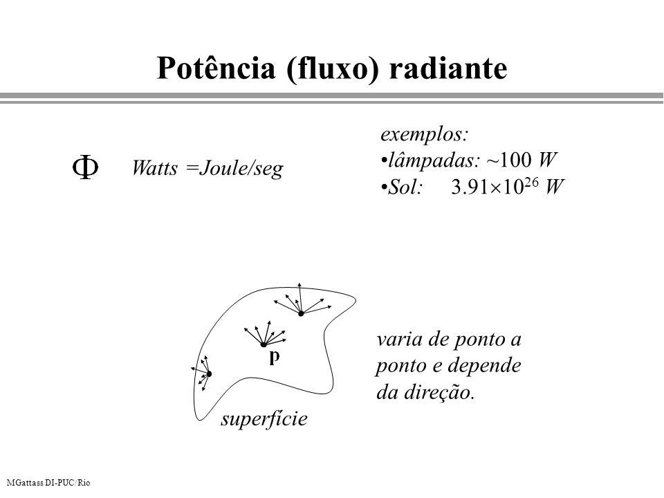 MGattass DI-PUC/Rio Potência (fluxo) radiante Watts =Joule/seg exemplos: lâmpadas: ~100 W Sol: 3.91 10 26 W varia de ponto a ponto e depende da direçã