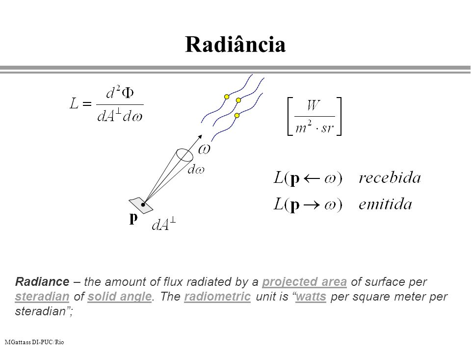 MGattass DI-PUC/Rio Radiância Radiance – the amount of flux radiated by a projected area of surface per steradian of solid angle. The radiometric unit