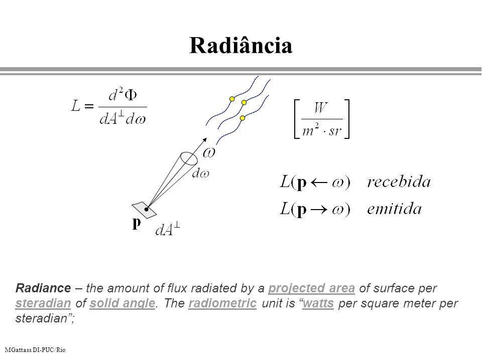 MGattass DI-PUC/Rio Representação perceptual da cor CIE RGB Problema: Não consegue se representar todas as cores visíveis (falta saturação) R = 700 nm G = 546 nm B = 435.8 nm C( ) luz pura (mono-freqüência) r( ) R g( ) G b( ) B C( ) 1931 - 2 o 1964 - 10 o 2 o ou 10 o