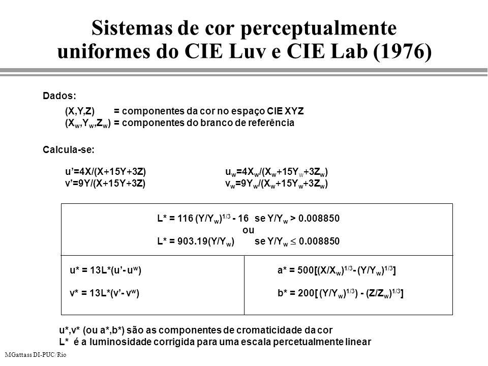 MGattass DI-PUC/Rio (X,Y,Z) = componentes da cor no espaço CIE XYZ (X w,Y w,Z w )= componentes do branco de referência Dados: u* = 13L*(u- u w ) v* =