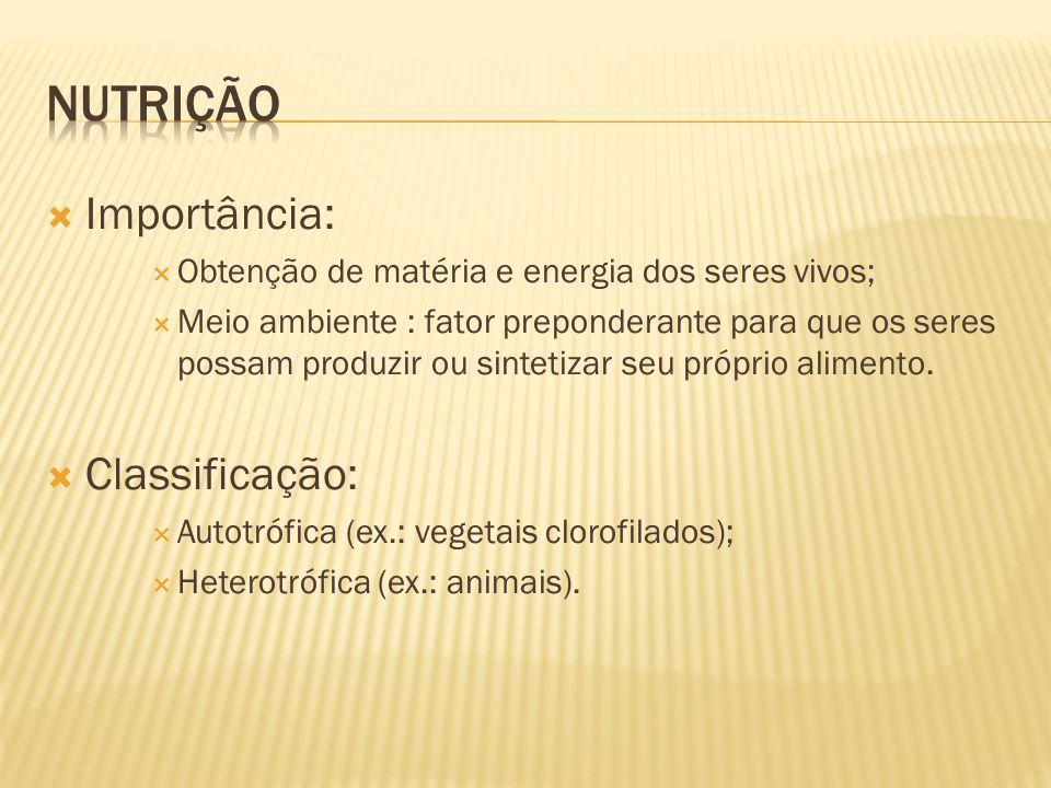 Importância: Obtenção de matéria e energia dos seres vivos; Meio ambiente : fator preponderante para que os seres possam produzir ou sintetizar seu pr