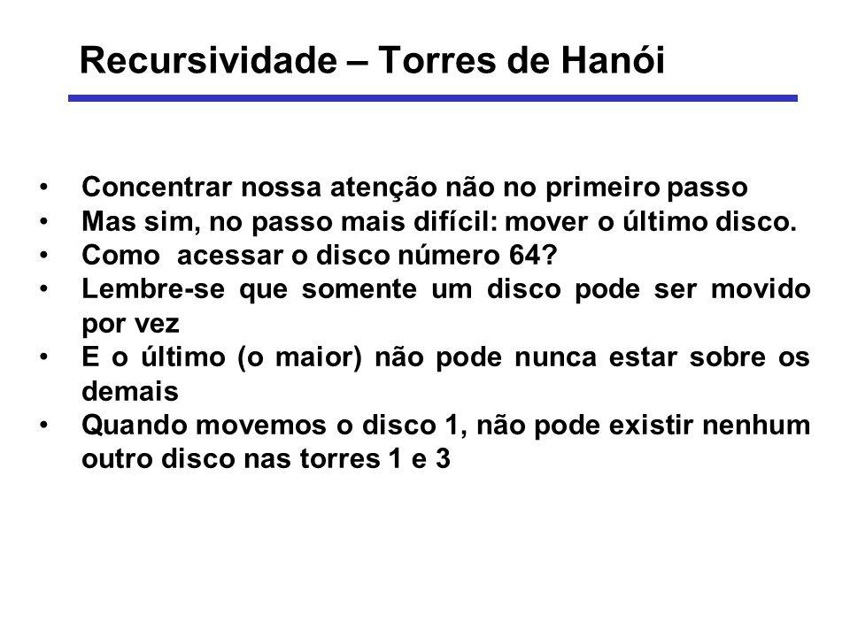 Recursividade – Torres de Hanói Concentrar nossa atenção não no primeiro passo Mas sim, no passo mais difícil: mover o último disco. Como acessar o di