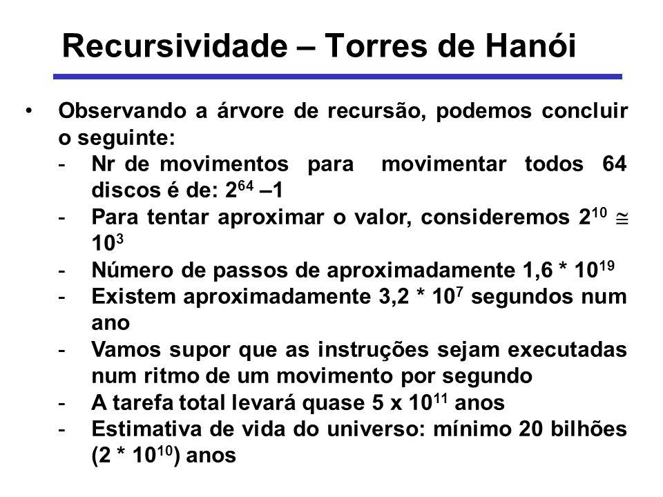 Recursividade – Torres de Hanói Observando a árvore de recursão, podemos concluir o seguinte: -Nr de movimentos para movimentar todos 64 discos é de: