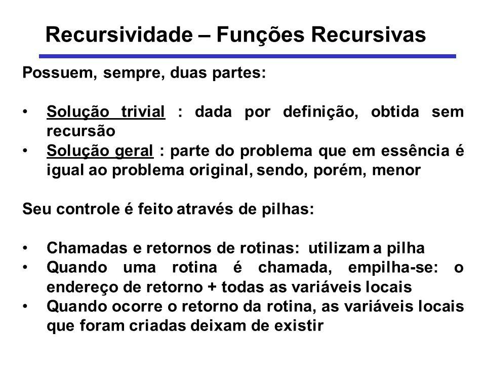 Recursividade – Funções Recursivas Possuem, sempre, duas partes: Solução trivial : dada por definição, obtida sem recursão Solução geral : parte do pr