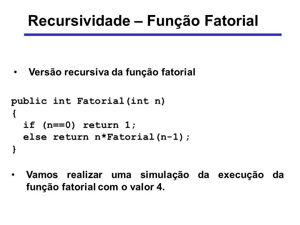 Recursividade – Função Fatorial public int Fatorial(int n) { if (n==0) return 1; else return n*Fatorial(n-1); } Vamos realizar uma simulação da execuç