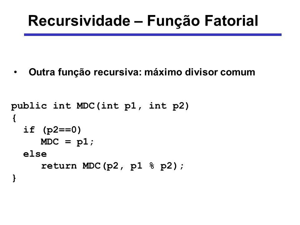 Recursividade – Função Fatorial public int MDC(int p1, int p2) { if (p2==0) MDC = p1; else return MDC(p2, p1 % p2); } Outra função recursiva: máximo d