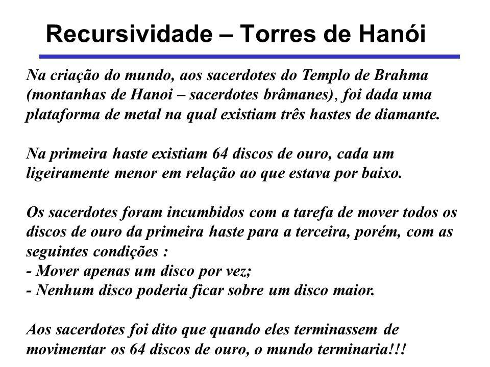 Recursividade – Torres de Hanói Na criação do mundo, aos sacerdotes do Templo de Brahma (montanhas de Hanoi – sacerdotes brâmanes), foi dada uma plata