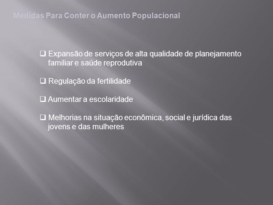 Medidas Para Conter o Aumento Populacional Expansão de serviços de alta qualidade de planejamento familiar e saúde reprodutiva Regulação da fertilidad